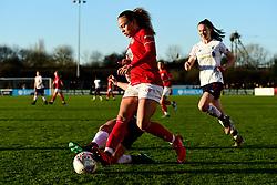 Ebony Salmon of Bristol City is challenged by Becky Jane of Liverpool Women - Mandatory by-line: Ryan Hiscott/JMP - 19/01/2020 - FOOTBALL - Stoke Gifford Stadium - Bristol, England - Bristol City Women v Liverpool Women - Barclays FA Women's Super League