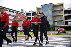 BRATISLAVA, SLOVAKIA - Thursday, October 10, 2019: Wales' Tom Lockyer signs an autograph for a supporter during a pre-match team walk near the Hotel NH Bratislava Gate One ahead of the UEFA Euro 2020 Qualifying Group E match between Slovakia and Wales. (Pic by David Rawcliffe/Propaganda)
