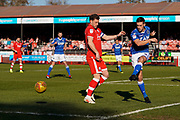 David Fitzpatrick of Macclesfield Town clears the ball under pressure during the EFL Sky Bet League 2 match between Crawley Town and Macclesfield Town at The People's Pension Stadium, Crawley, England on 23 February 2019.