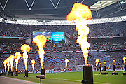 Entertainment and fireworks during the The FA Cup match between Arsenal and Aston Villa at Wembley Stadium, London, England on 30 May 2015. Photo by Phil Duncan.