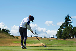 Gleneagles, Scotland, UK; 9 August, 2018.  Day two of European Championships 2018 competition at Gleneagles. Men's and Women's Team Championships Round Robin Group Stage - 2nd Round. Four Ball Match Play format. Manon Molle of France tees of on the 18th hole