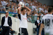 (L) Legia's trainer coach Jan Urban during the UEFA Champions League play-off second leg match between Legia Warsaw and FC Steaua Bucuresti at Pepsi Arena Stadium in Warsaw on August 27, 2013.<br /> <br /> Poland, Warsaw, August 27, 2013<br /> <br /> Picture also available in RAW (NEF) or TIFF format on special request.<br /> <br /> For editorial use only. Any commercial or promotional use requires permission.<br /> <br /> Photo by &copy; Adam Nurkiewicz / Mediasport