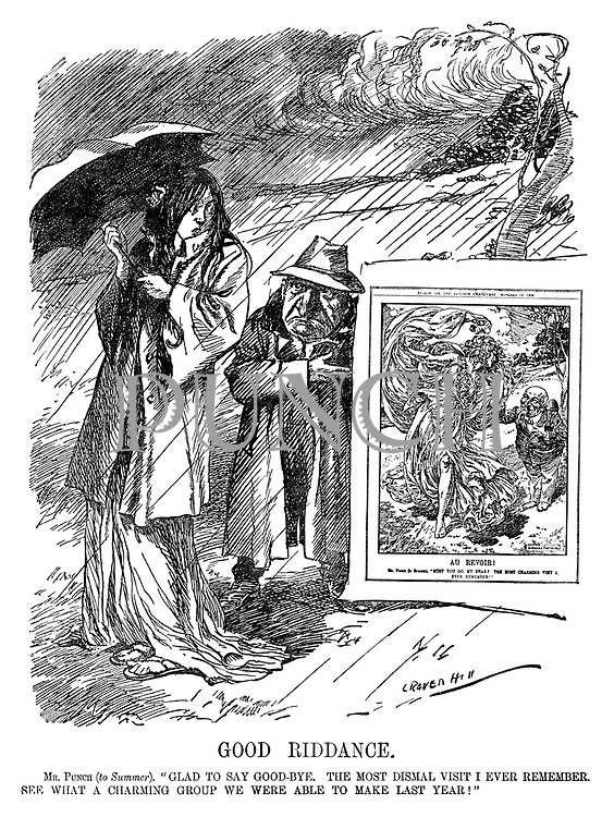 "Good Riddance. Mr Punch (to Summer). ""Glad to say good-bye. The most dismal visit I ever remember. See what a charming group we were able to make last year!"" (Mr Punch shows Summer a copy of a happy Punch cartoon from the previous year)"