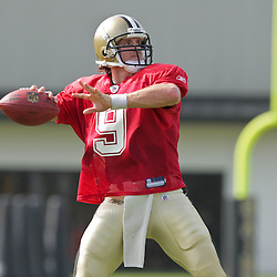 31 July 2009:New Orleans Saints quarterback Drew Brees (9) throws during the opening day of New Orleans Saints training camp held at the team's practice facility in Metairie, Louisiana.