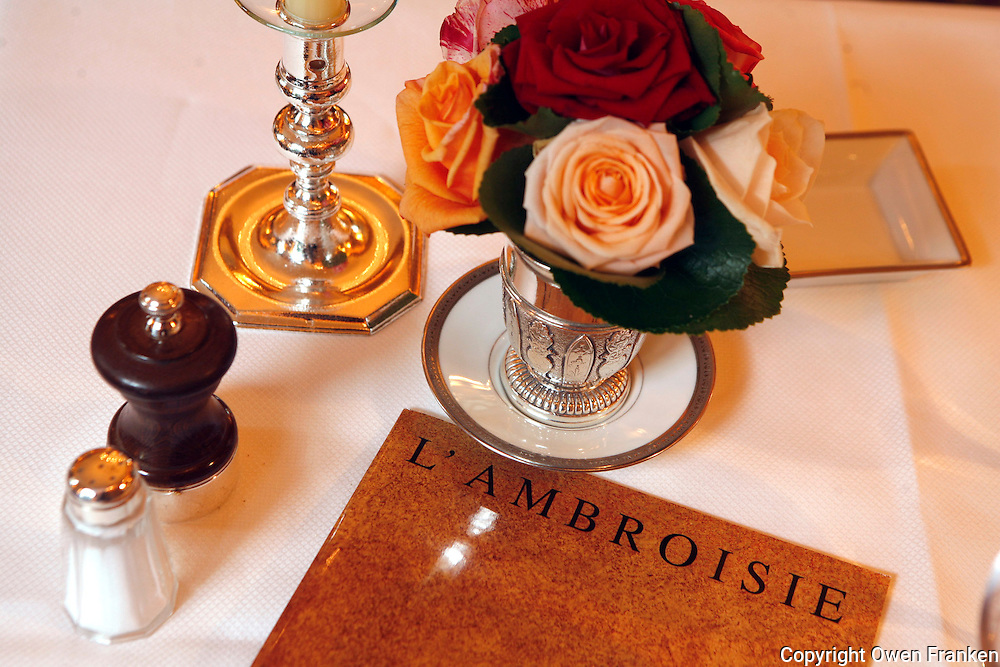 l'Ambroisie, Chef Bernard Pacaud, Place des Vosges, Paris<br /> <br /> l'Ambroisie is a Michelin three star restaurant
