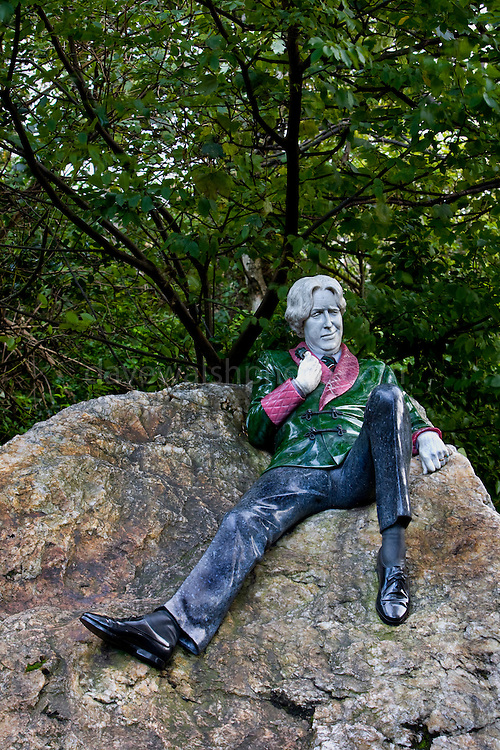 Statue of Oscar Wilde, Merrion Square, Dublin. Wilde's family lived in 1 Merrrion Square from 1855. The statue was created by sculptor Danny Osborne.