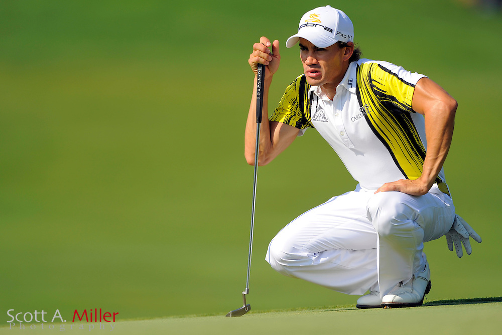 Aug 14, 2009; Chaska, MN, USA; Camilo Villegas (COL) lines up a putt on the 11th green during the second round of the 2009 PGA Championship at Hazeltine National Golf Club.  ©2009 Scott A. Miller