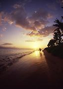 Couple at sunset, Kaanapali, Maui, Hawaii<br />