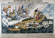 Allegorical print of the apotheosis of Napoleon I (1769-1821). Hand-coloured woodcut.
