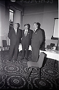 28/06/1965<br /> 06/28/1965<br /> 28 June 1965<br /> Reception for presentation of funding by W.D. & H.O., Wills to Glenageary Horse Show Committee at the Royal Marine Hotel, Dun Laoghaire, Dublin. Image shows (l-r): Mr. D. Bloomer, Chairman, Glenageary Show; Mr. David Andrews, T.D. and Mr. D.R. Mott, Managing Director, W.D. & H.O., Wills (Ireland).