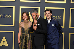 February 9, 2020, Los Angeles, California, USA: NATALIE PORTMAN, TAIKA WAITITI AND TIMOTHEE CHALAMET in the Press Room during the 92nd Academy Awards, presented by the Academy of Motion Picture Arts and Sciences (AMPAS), at the Dolby Theatre in Hollywood. (Credit Image: © Kevin Sullivan via ZUMA Wire)