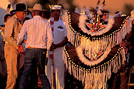 Native Americans, Grand Entry preparations , Crow Fair, Crow Agency, Crow Indian Reservation, Montana, USA, 1988