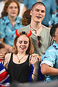 Fans in the South Stand sing before the Cup Final starts during the Cathay Pacific/HSBC Hong Kong Sevens festival at the Hong Kong Stadium, So Kon Po, Hong Kong. on 8/04/2018. Picture by Ian  Muir.