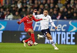 BOLTON, ENGLAND - Wednesday, February 4, 2015: Liverpool's Raheem Sterling in action against Bolton Wanderers during the FA Cup 4th Round Replay match at the Reebok Stadium. (Pic by David Rawcliffe/Propaganda)
