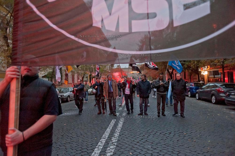Roma, 10 Novembre 2012.Manifestazione del Movimento Sociale Europeo contro il Governo Monti  la BCE e Equitalia.  Adriano Tilgher, Luca Romagnoli, Fabio Sabbatani Schiuma.The movement MSE (European social movement) marches in Rome from Risorgimento square to Cavour square.Militants of MSE protest against the government' s work.