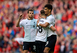 DUBLIN, REPUBLIC OF IRELAND - Saturday, August 5, 2017: Liverpool's Dominic Solanke celebrates scoring the third goal with team-mate Ben Woodburn during a preseason friendly match between Athletic Club Bilbao and Liverpool at the Aviva Stadium. (Pic by David Rawcliffe/Propaganda)