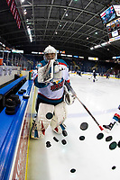 KELOWNA, CANADA - JANUARY 25: James Porter #1 of the Kelowna Rockets throws the pucks to the ice for warm up against the Victoria Royals on January 25, 2019 at Prospera Place in Kelowna, British Columbia, Canada.  (Photo by Marissa Baecker/Shoot the Breeze)