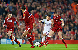 LIVERPOOL, ENGLAND - Tuesday, April 24, 2018: Liverpool's captain Jordan Henderson and AS Roma's Cengiz Ünder (left) during the UEFA Champions League Semi-Final 1st Leg match between Liverpool FC and AS Roma at Anfield. (Pic by David Rawcliffe/Propaganda)
