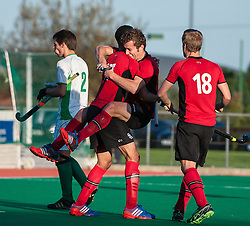 Southgate's Matt Guise Brown celebrates scoring his first league goal and the equaliser. Canterbury v Southgate - Now: Pensions Men's Hockey League Premier Division, Polo Farm, Canterbury, UK on 25 October 2014. Photo: Simon Parker