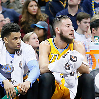 04 March 2016: Denver Nuggets forward Axel Toupane (6) and Denver Nuggets center Joffrey Lauvergne (77) are seen on the bench during the Brooklyn Nets 121-120 victory over the Denver Nuggets, at the Pepsi Center, Denver, Colorado, USA.