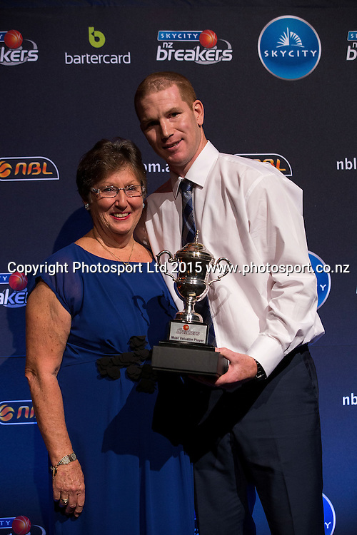 Kerry Pankhurst who presented the Brian Pankhurst Award to Hayden Allen at the SkyCity Breakers Awards, 2014-15, SkyCity Convention Centre, Auckland, New Zealand, Friday, March 20, 2015. Copyright photo: David Rowland / www.photosport.co.nz
