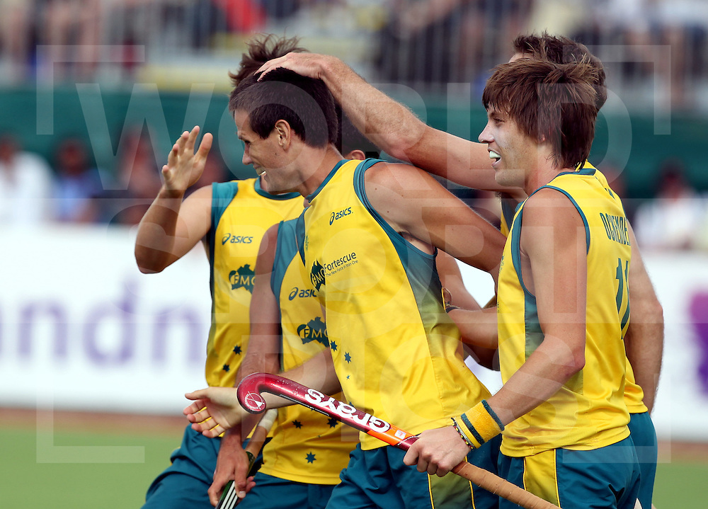 Champions Trophy, New Zealand 2011.8/12/2011 Day 4 Netherlands v Australia.Australia celebrate a goal from Matt Gohdes (L)