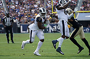 Los Angeles Rams defensive back Darious Williams (31) runs with the ball during an NFL football game against the New Orleans Saints, Sunday, Sept. 15, 2019, in Los Angeles. The Rams defeated the Saints 27-9. (Dylan Stewart/Image of Sport)