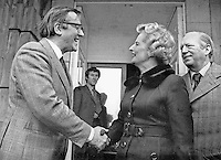 Margaret Thatcher, leader of UK Conservative Party, meets Labour's N Ireland Secretary of State, Merlyn Rees, during a visit to N Ireland. Also in photograph is Airey Neave, the Conservative's N Ireland spokesman, who was murdered on 30 March 1979. A bomb exploded under his car when he was driving out of an underground car park at the House of Commons, London. NI Troubles. NI-Troubles. Taken: 197511031. Ref: 197511031.<br /> <br /> Copyright Image from Victor Patterson, 54 Dorchester Park, Belfast, UK, BT9 6RJ<br /> <br /> t1: +44 28 9066 1296 (from Rep of Ireland 048 9066 1296)<br /> t2: +44 28 9002 2446 (from Rep of Ireland 048 9002 2446)<br /> m: +44 7802 353836<br /> <br /> victorpattersonbelfast@gmail.com<br /> <br /> www.victorpatterson.com<br /> <br /> Please see my Terms and Conditions of Use at https://www.victorpatterson.com/page2<br /> It is IMPORTANT that you familiarise yourself with them.<br /> <br /> Images used on the Internet incur an additional cost and must be visibly watermarked i.e. © Victor Patterson within the body of the image and copyright metadata must not be deleted. Images used on the Internet have a size restriction of 4kbs and are chargeable at rates available at victorpatterson.com.<br /> <br /> This image is available only for the use of the download recipient i.e. television station, newspaper, magazine, book publisher, etc, and must not be passed on to any third party. It is also downloaded on condition that each and every usage is notified within 7 days to victorpattersonbelfast@gmail.com.<br /> <br /> The right of Victor Patterson (or the named photographer) to be identified as the author is asserted in accordance with The Copyright Designs And Patents Act (1988). All rights reserved and all moral rights are asserted.