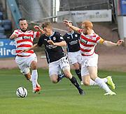 Jim McAlister weaves between Hamilton's Dougie Imrie and Ziggy Gordon - Dundee v Hamilton, SPFL Premiership at Dens Park<br /> <br />  - &copy; David Young - www.davidyoungphoto.co.uk - email: davidyoungphoto@gmail.com