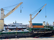 Unloading yacht from AAL ship 'New Legend Saphire' Mayfield Berth4, Newcastle Harbour, 250318