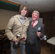 Eddie Ogg (president of the Belhaven Broughty Ferry Domino League) presents the League Singles Trophy to Steve Ross of the Vault -  Belhaven Broughty Ferry Domino League prizegiving at the Crown, Monifieth<br /> <br />  - &copy; David Young - www.davidyoungphoto.co.uk - email: davidyoungphoto@gmail.com