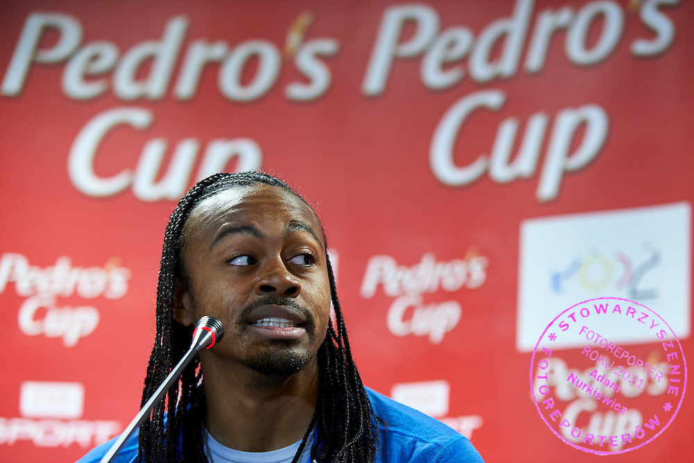 Aries Merritt from USA during press conference one day before athletics meeting Pedro's Cup at Atlas Arena in Lodz, Poland.<br /> Aries Merritt is track and field athlete, currently holds the world record and the gold medalist in the 110 meter hurdles at the 2012 Summer Olympics Games in London<br /> <br /> Poland, Lodz, February 16, 2015<br /> <br /> Picture also available in RAW (NEF) or TIFF format on special request.<br /> <br /> For editorial use only. Any commercial or promotional use requires permission.<br /> <br /> Adam Nurkiewicz declares that he has no rights to the image of people at the photographs of his authorship.<br /> <br /> Mandatory credit:<br /> Photo by &copy; Adam Nurkiewicz / Mediasport