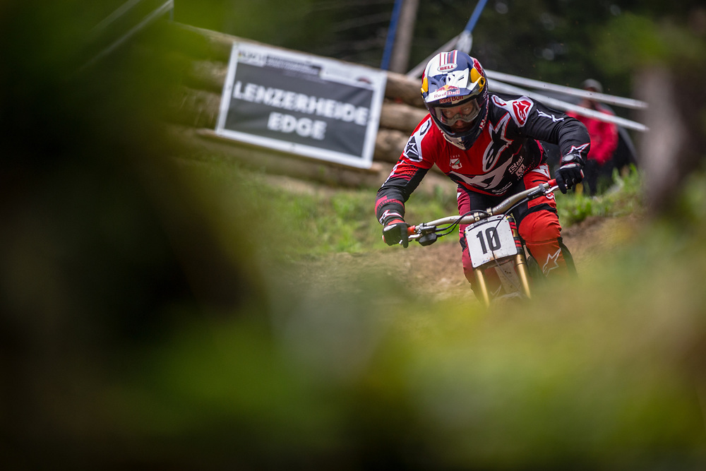 Aaron Gwinn (USA) during downhill practice at the 2018 UCI MTB World Championships - Lenzerheide, Switzerland