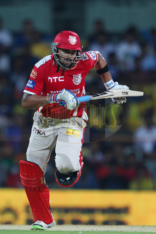 Murali Vijay of Kings XI Punjab  during match 24 of the Pepsi IPL 2015 (Indian Premier League) between The Chennai Superkings and The Kings XI Punjab held at the M. A. Chidambaram Stadium, Chennai Stadium in Chennai, India on the 25th April 2015.<br /> <br /> Photo by:  Ron Gaunt / SPORTZPICS / IPL