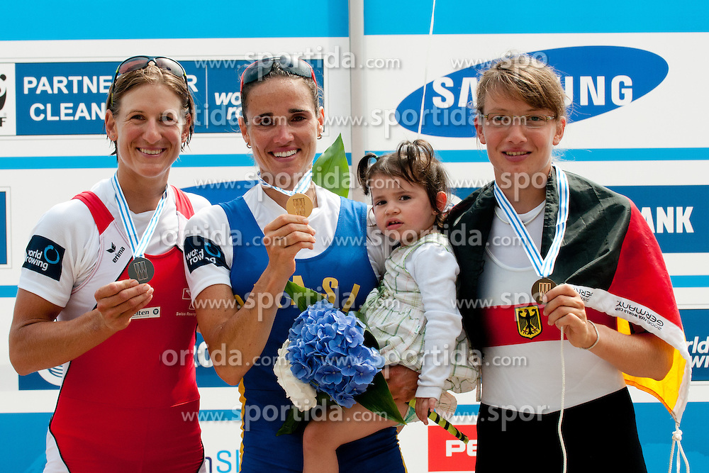First place for Fabiana Beltrame of Brazil, second place for Pamela Weisshaupt of Switzerland and third place for Lena Mueller of Germany during Women's Lightweight Single Sculls at Rowing World Championships Bled 2011 on September 2, 2011, in Bled, Slovenia. (Photo by Matic Klansek Velej / Sportida)