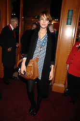 ALEXA CHUNG at the gala night of Varekai by Cirque du Soleil at The Royal Albert Hall, London on 8th January 2008.<br />
