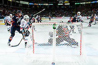 KELOWNA, CANADA - MARCH 26: Connor Ingram #39 of Kamloops Blazers makes a save against the Kelowna Rockets on March 26, 2016 at Prospera Place in Kelowna, British Columbia, Canada.  (Photo by Marissa Baecker/Shoot the Breeze)  *** Local Caption *** Rodney Southam; Connor Ingram;