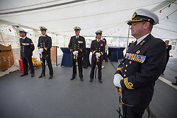 @Licensed to London News Pictures 08 06 2017. Chatham, Medway, Kent. Members of the Dutch Navy wait for the arrival of The Royal Prins Maurits of the Netherland on board HNLMS Holland to commemorate the Battle of Medway at Upnor Castle in Kent today. The Battle of Medway took place in 1667 when the Dutch launched a daring assault on the British upon the River Medway at Chatham destroying the whole fleet . Photo credit: Manu Palomeque/LNP