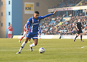Gillingham forward Dominic Samuel, scorer of the first goal and creator of the second, takes a shot at goal during the Sky Bet League 1 match between Gillingham and Crewe Alexandra at the MEMS Priestfield Stadium, Gillingham, England on 12 March 2016. Photo by David Charbit.