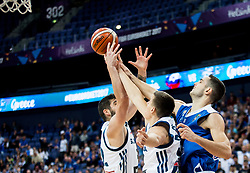 Ziga Dimec of Slovenia, Vlatko Cancar of Slovenia vs Ioannis Papapetrou of Greece during basketball match between National Teams of Slovenia and Greece at Day 4 of the FIBA EuroBasket 2017 at Hartwall Arena in Helsinki, Finland on September 3, 2017. Photo by Vid Ponikvar / Sportida