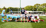 The London Scottish pack prepare for a scum during the Green King IPA Championship Play-Off match between London Scottish &amp; Worcester at Richmond, Greater London on Saturday 2nd May 2015<br /> <br /> Photo: Ken Sparks | UK Sports Pics Ltd<br /> London Scottish v Worcester, Green King IPA Championship, 2nd May 2015<br /> <br /> &copy; UK Sports Pics Ltd. FA Accredited. Football League Licence No:  FL14/15/P5700.Football Conference Licence No: PCONF 051/14 Tel +44(0)7968 045353. email ken@uksportspics.co.uk, 7 Leslie Park Road, East Croydon, Surrey CR0 6TN. Credit UK Sports Pics Ltd