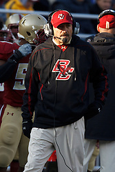 November 20, 2010; Chestnut Hill, MA, USA;  Boston College Eagles head coach Frank Spaziani on the sidelines against the Virginia Cavaliers during the third quarter at Alumni Stadium.  Boston College defeated Virginia 17-13.