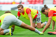 Sean Raggett (#20) of Portsmouth FC during the warm up before the EFL Sky Bet League 1 match between Sunderland and Portsmouth at the Stadium Of Light, Sunderland, England on 17 August 2019.