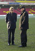 Photo - Peter Spurrier.12/01/2003.Parker Pen Shield European Rugby - Saracens v Newcastle.Wayne Shelford {right} and Simon Wray Saracens owner