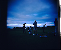Tiger Woods hits tee shots in the early morning of the second day of the practice round at the PGA championship at Whistling Straits Tuesday Aug. 10, 2004 Haven Wi.     Photo Darren Hauck.............................................................................