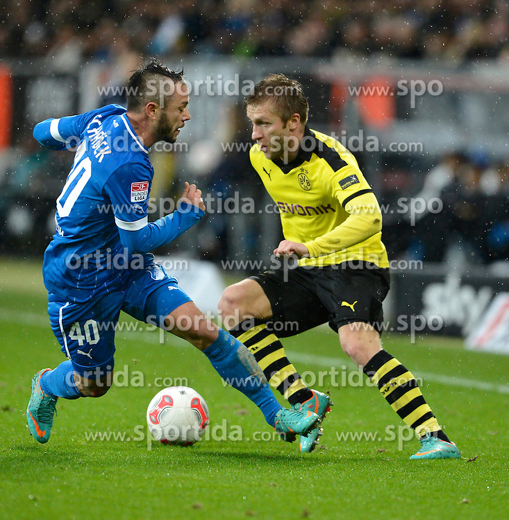 16.12.2012, Rhein Neckar Arena, Sinsheim, GER, 1. FBL, TSG 1899 Hoffenheim vs Borussia Dortmund, 17. Runde, im Bild Zweikampf Aktion Stephan SCHRÖCK TSG 1899 Hoffenheim gegen Jacub BLASZCZYKOWSKI Borussia Dortmund (rechts) // during the German Bundesliga 17th round match between TSG 1899 Hoffenheim and Borussia Dortmund at the Rhein Neckar Arena, Sinsheim, Germany on 2012/12/16. EXPA Pictures © 2012, PhotoCredit: EXPA/ Eibner/ Weber..***** ATTENTION - OUT OF GER *****
