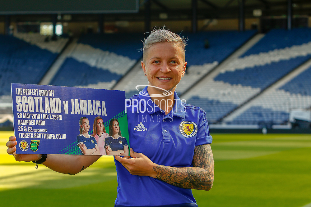 Scotland & ACF Fiorentina Forward Lana Clelland during the pre-match press conference ahead of the Scotland Women's National Team final game on home soil before the squad head off to the FIFA Women's World Cup in France.<br /> <br /> Hampden Park, Glasgow, United Kingdom on 24 May 2019.
