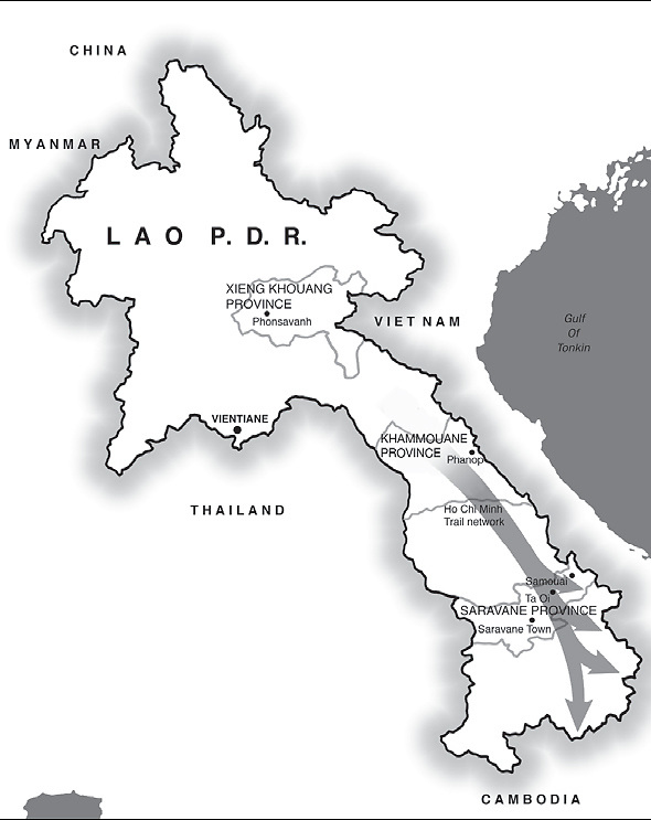 Map of Laos, showing the Ho Chi Minh Trail routes.