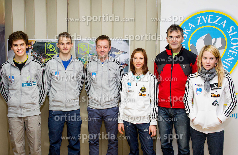 Domen Skofic, Urban Primozic, coach Roman Krajnik, Mina Markovic, Tomo Cesen and Maja Vidmar of Slovenia during press conference before Final IFSC World Cup Competition in sport climbing Kranj 2013 on November 13, 2013 in PZS, Ljubljana, Slovenia. Photo by Vid Ponikvar / Sportida