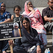 "Thousands rally in Trafalgar Square in London on June 3, 2018, for the annual Remembrance 1984 Sikh Genocide by the Indian army ""Operation Blue Star"" mastermind by the MI5 slaughters thousands of unarmed Sikh men, women, and children and rape. The Sikh continues to seek justice 'never Forget' from the India government, in fact, the Sikh continues facing oppression by the Indian through this day and demand Khalistan Freedom an independent state."